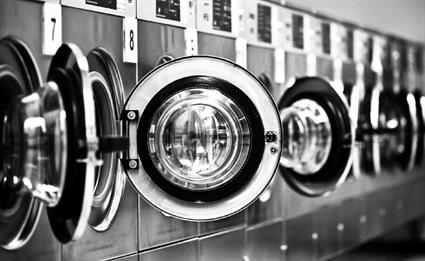 Launderette washing machines grey
