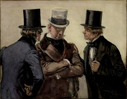 Traddles, Micawber and David from David Copperfield art by Frank Reynolds
