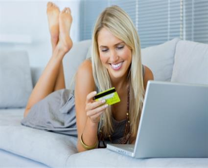 woman credit card shopping online